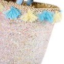 Flowers of wool and dress wicker basket glitter with large handles in blue leather
