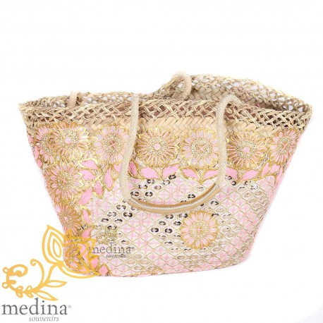 Moroccan basket with large rope and entirely embroidered leather handles