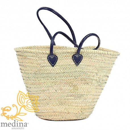 Moroccan basket with large handles in blue leather