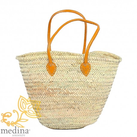 Moroccan basket with large yellow leather handles