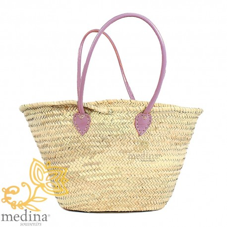 Moroccan basket with large handles leather pink