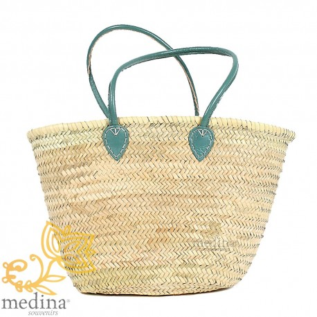 Moroccan basket with large handles in green leather