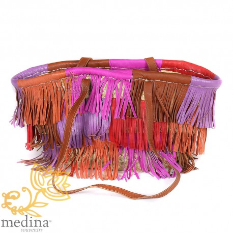 Moroccan basket with large flat handles in natural leather and fringe