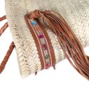 Moroccan basket with large handles braided brown leather