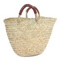 Moroccan basket with handles in chocolate leather