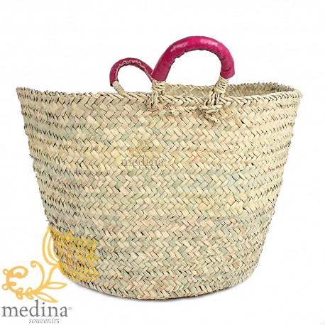 Moroccan basket with handles Fuchsia leather