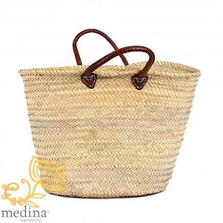 Moroccan basket with brown leather handles