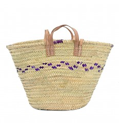 Moroccan basket with handles in natural leather and purple edging
