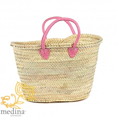 Pink Moroccan basket with leather handles