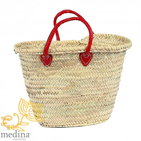 Moroccan basket with handles red leather