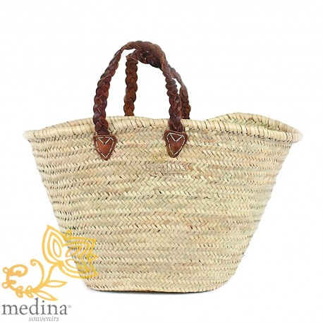 Moroccan basket with Brown braided leather handles