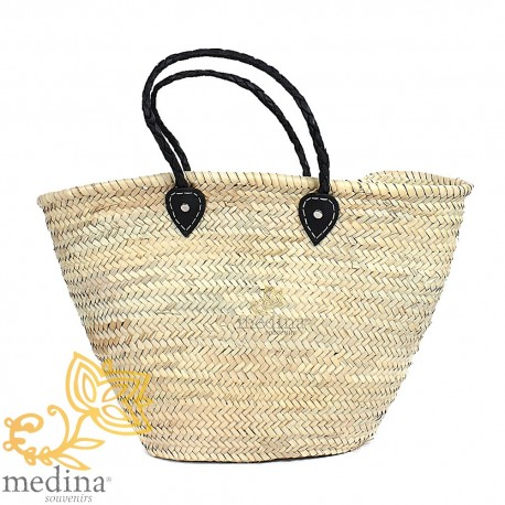 Moroccan basket with handles black braided leather