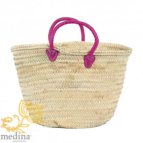 Moroccan basket with handles in purple leather