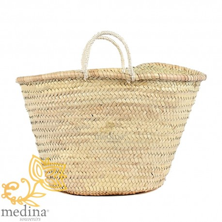 Moroccan basket with thin braided rope handles