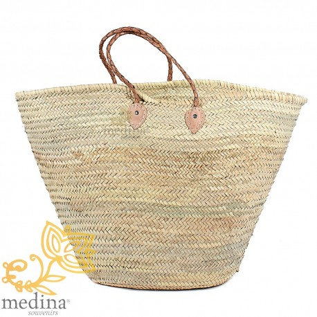 Moroccan basket with handles fine tressees natural leather
