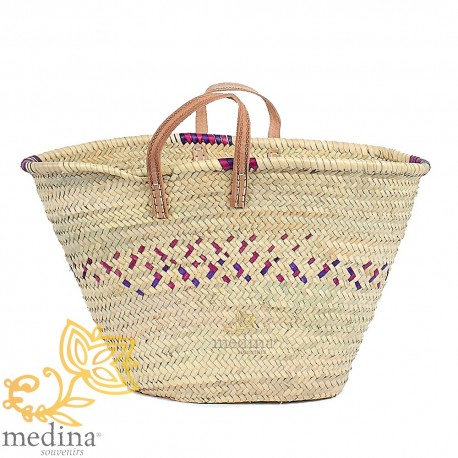 Moroccan basket with flat handles natural leather