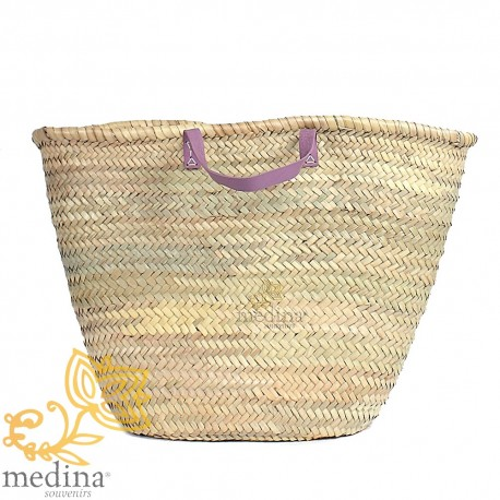 Moroccan basket with flat handles leather pink