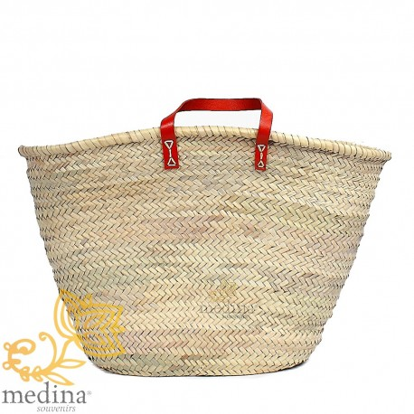 Moroccan basket with flat handles red leather