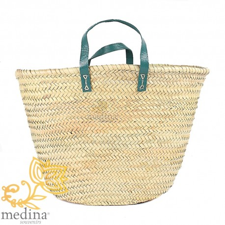 Moroccan basket with flat handles green leather