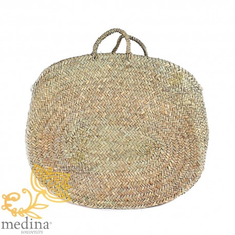 Basket round Moroccan with handles rope braided