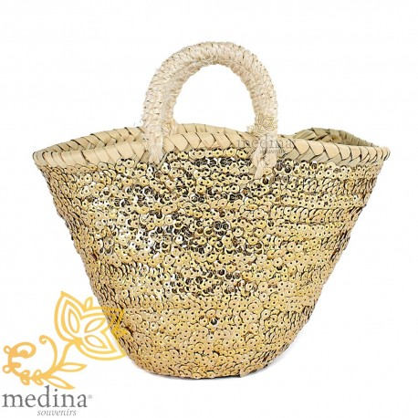 Basket Moroccan design with handles string tressee decorated with gold sequins