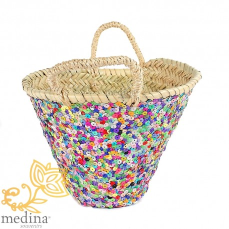 Basket rope Moroccan design with handles decorated with multicolored glitter tressee