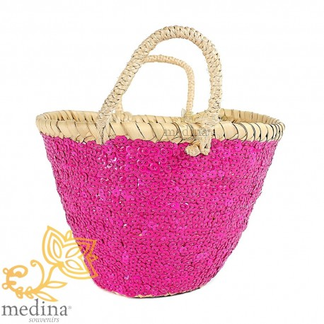 Moroccan basket design with tressee rope handles and decorated with glitter rose