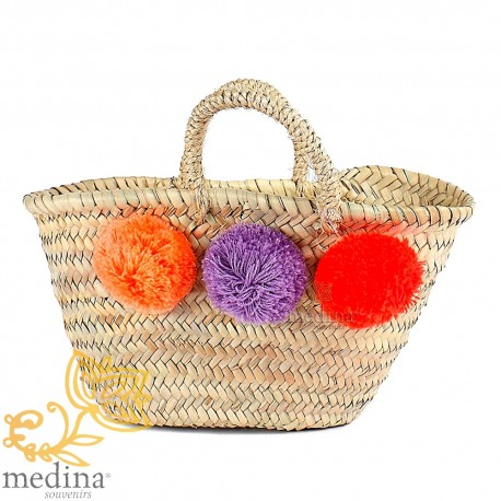 Basket Moroccan design with handles string tressee and big PomPoms orange purple and Red