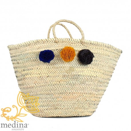 Basket Moroccan design with handles string tressee and pom poms blue gold and black