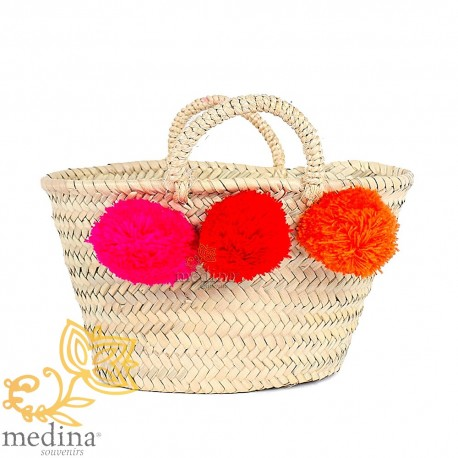 Basket Moroccan design with handles string tressee and Fuchsia red and orange PomPoms