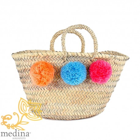 Basket Moroccan design with handles string tressee and PomPoms orange blue and pink