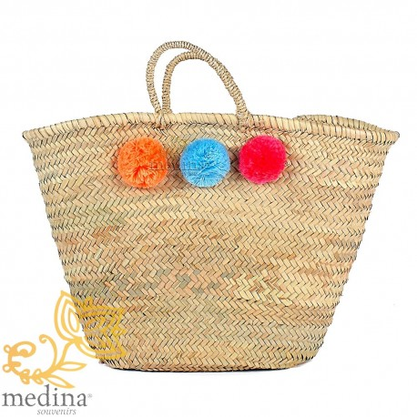 Basket Moroccan design with handles string tressee and PomPoms orange, turquoise and Red