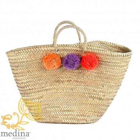 Basket Moroccan design with handles string tressee and PomPoms orange purple and Red