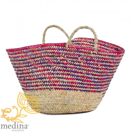Basket pink Moroccan design with braided rope handles