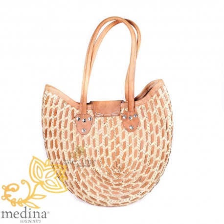 Basket Moroccan bag with large handles in natural leather