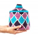Box vintage 20 sewn and woven over wool in shades of purple, pink and turquoise