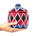 Box vintage 24 sewn and woven over wool in shades of red, black and blue
