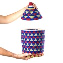 Box vintage woven sewn 7 over wool in shades of blue, yellow and Red