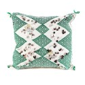 Cushion square in green white embroidered kilim and beautifully decorated in beautiful Silver trimmings
