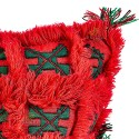 Square bright red and green vintage woven and embroidered hand