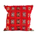 Square cushion bright red vintage woven and embroidered hand
