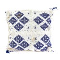 Cushion design Berber wool woven hand white and blue
