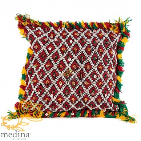 Cushion Kilim, woven trimmings silver cushion Berber and Berber cushion handmade