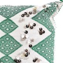 Rectangular cushion kilim embroidered green white and beautifully decorated in beautiful Silver trimmings