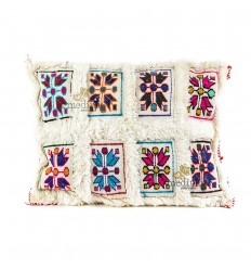 Cushion rectangular vintage white woven by hand and multi-colored embroideries