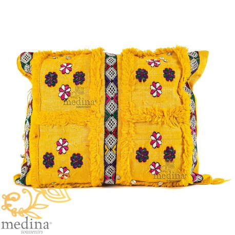 Cushion rectangular yellow vintage woven multicolored vintage pillow hand woven embroidery and hand