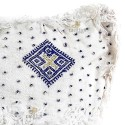 Vintage Berber cushion to Virgin wool woven hand white blue asymmetric patterns