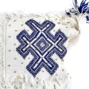 Vintage Berber cushion to Virgin wool woven hand white blue patterns with its wool PomPoms