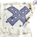 Vintage cushion Berber wool woven hand white blue patterns