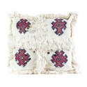 Vintage cushion Berber wool woven hand white pink and Red patterns